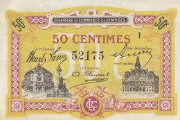 Chambre De Commerce De Limoges Billet 50 C Série I Remboursement 1er Janvier 1923 JP.073.23 - Chambre De Commerce