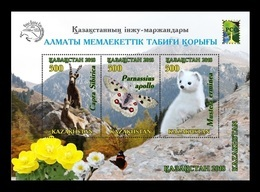 Kazakhstan 2018 Mih. 1105/07 (Bl.111) Fauna. Almaty Nature Reserve. Ibex. Butterfly. Stoat. Space (RCC Joint) MNH ** - Kazajstán