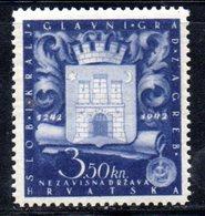 APR472 - CROAZIA 1943 , Serie Unificato Nr. 72  ***  MNH  (2380A). Piega In Colla - Kroatië