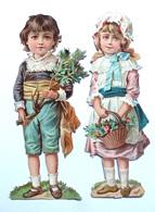 2 GRANDS CHROMOS DECOUPIS ....H  17 Cm...COUPLE D'ENFANTS ...PANIER DE FLEURS...BRANCHAGE - Enfants