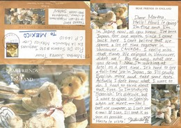 J) 1998 JAPAN, BEAR FRIENDS IN ENGLAND, AIRMAIL, CIRCULATED COVER, FROM JAPAN TO MEXICO, POSTCARD - Covers & Documents
