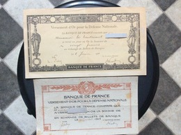 2 DOCUMENTS BANQUE DE FRANCE  Versement D'or Pour  La Defense Nationale *1915 *1916 - Bons & Nécessité