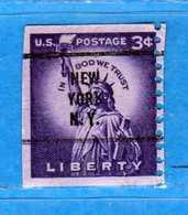 (Us2) USA °- 1954-1961 - Liberty. 3.c. Unif. 847 NEW York. USED.  Vedi Descrizione - Stati Uniti