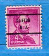 (Us2) USA °- 1954-1961 - A. LINCOLN. 4. C. Unif. 824. Clifton N.J.. USED.  Vedi Descrizione - Stati Uniti