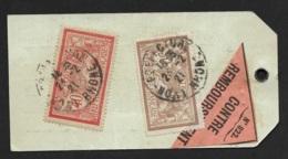 Etiquette Echantillon Avec Merson 40c Et 50c-Contre Remboursement-Cachet Lyon Prefecture - 1921-1960: Modern Period