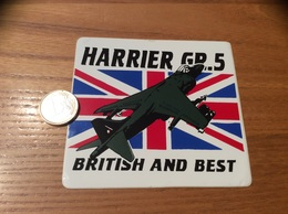 AUTOCOLLANT, Sticker «HARRIER GR5 - BRITISH AND BEST» (militaire, Avion, Grande-Bretagne) - Autocollants