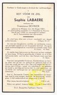 DP Sophie Labaere ° Wulpen Koksijde 1851 † Veurne 1939 X Franciscus DeVinck - Images Religieuses