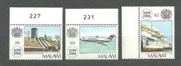 Malawi, 1988 (#518e), Lloyd's Of London, Ship, Seawise University Queen Elisabeth In Hong Kong, Plane, Dam, Waterfall - Avions