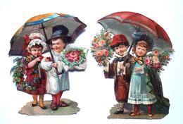 2 CHROMOS DECOUPIS ....H  10 Cm......COUPLE D'ENFANTS SOUS UN PARAPLUIE OU PARASOL....BOUQUETS DE FLEURS - Enfants