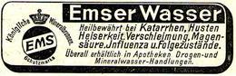 Original-Werbung/ Anzeige 1913 - EMSER WASSER / BAD EMS - Ca. 75 X 25 Mm - Publicités