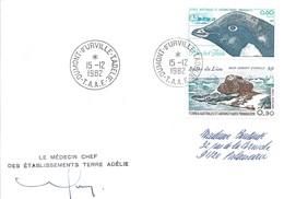 TAAF - Dumont D'Urville-T.Adélie: Lettre Avec Timbres N°87 Manchot Et Poste Aérienne N°57 Rocher Du Lion - 15/12/1982 - Lettres & Documents