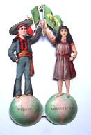 2 CHROMOS DECOUPIS GRAND FORMAT....H  19 Cm.....PERSONNAGES DU MEXIQUE  ET AMERIQUE DU SUD SUR UN GLOBE TERRESTRE - Découpis