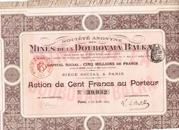 Titre Ancien - Société Anonyme  Des Mines De La Doubovaia Balka - Titre De 1913 - - Russie