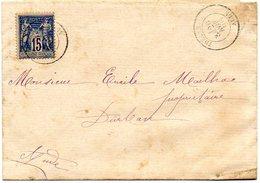 B002 1888 Cachet A Date THEZAN  Aude  Type Paix - Marcophilie (Lettres)