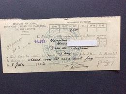 SECOURS NATIONAL ENTR'AIDE D'HIVER DU MARÉCHAL Attestation De Versement  JUIN 1944 - Bons & Nécessité