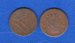 1/2  Cents  1821 +1821 B  Rare - [ 3] 1815-… : Kingdom Of The Netherlands