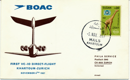 KHARTOUM / Sudan - 1967 , BOAC First VC-10 Flight  Khartoum-Zurich - Sudan (1954-...)