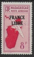"""MADAGASCAR 1943 YT PA 47 SANS GOMME - SURCHARGE """"FRANCE LIBRE"""" - Poste Aérienne"""