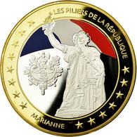 France, Médaille, Les Piliers De La République, Marianne, 2015, FDC, Copper - France