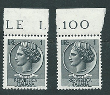 Italia 1955-60; Siracusana Lire 1, Stelle , Vignetta Grande; Due Valori Di Bordo. - 1946-.. République