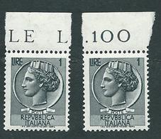 Italia 1955-60; Siracusana Lire 1, Stelle , Vignetta Grande; Due Valori Di Bordo. - 6. 1946-.. Repubblica