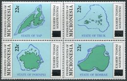 Micronesia 48-51a Block,MNH.Michel 53-56. Postal Service,Map.New Value,1986. - Geography