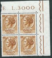 Italia 1955-60; Siracusana Lire 30, Stelle , Vignetta Grande; Quartina Di Angolo - 1946-60: Nuovi