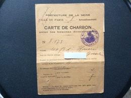 CARTE DE CHARBON  Ville De Paris  *HIVER 1918-1919  *ÉTÉ 1920 - Bons & Nécessité