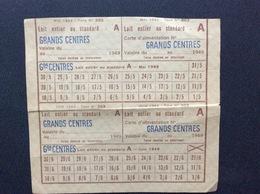 CARTE D'ALIMENTATION  Lait Entier Ou Standard  MAIRIE Du 9e ARRONDISSEMENT Paris ANNÉE 1949 - Bons & Nécessité