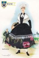 CPM 10X15. FOLKLORE . Femme En COSTUME BRODE +TISSUS .  MAINE  - SARTHOISE  (Illust MAINAXA ) - Costumes