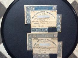 2 CARTES INDIVIDUELLES D'ALIMENTATION  Ministère De L'Agriculture Et Du Ravitaillement DÉPARTEMENT DE LA MANCHE  1918 - Bons & Nécessité