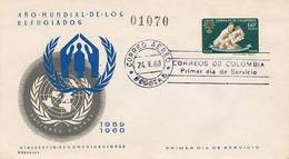 Lote 986F, Colombia, 1960, SPD-FDC, Año Mundial De Los Refugiados, World Year Of Refugees - Colombie