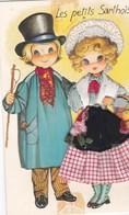CPM 10X15. FOLKLORE . Couple D'Enfants . Fillette En COSTUME BRODE + TISSU . Les Petits Sarthois (SARTHE) - Costumes