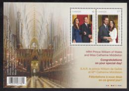 Canada 2011 MNH Sc 2465b Souvenir Sheet Of 2 Royal Wedding - 1952-.... Règne D'Elizabeth II