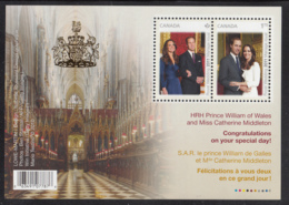 Canada 2011 MNH Sc 2465c Souvenir Sheet Of 2 Royal Wedding Gold Crown Overprint - 1952-.... Règne D'Elizabeth II