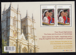 Canada 2011 MNH Sc 2477 Souvenir Sheet Of 2 Royal Wedding Westminster Abbey - 1952-.... Règne D'Elizabeth II