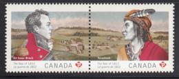 Canada 2012 MNH Sc 2555a Pair (P) Sir Isaac Brock, Chief Tecumseh War Of 1812 - 1952-.... Règne D'Elizabeth II