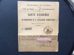 CARTE D'ESSENCE Destinée AU CHAUFFAGE ET À L'ÉCLAIRAGE DOMESTIQUES  Ville De PARIS 8e Arrondissement  1918 - Bons & Nécessité