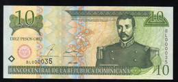 DOMINICAN REPUBLIC RD$ 10 2000 Low Number BL000035 PICK-159 UNC - Dominicaine