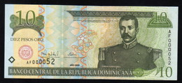 DOMINICAN REPUBLIC RD$ 10 2000 Low Number AF000052 PICK-159 UNC - Dominicaine
