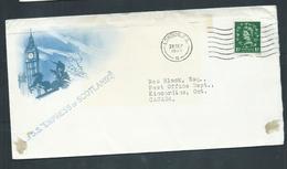 Great Britain 1955 Paquebot Cover To Canada , Ship Empress Of Scotland ,  KGVI Adhesive - 1952-.... (Elizabeth II)