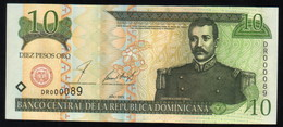 DOMINICAN REPUBLIC RD$ 10 2001 Low Number DR000089 PICK-168a UNC - Dominicaine