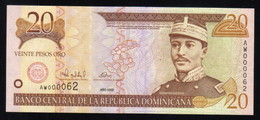 DOMINICAN REPUBLIC RD$ 20 2000 Low Number AW000062 PICK-160a UNC - Dominicaine