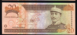 DOMINICAN REPUBLIC RD$ 20 2003 Low Number KE0000684 PICK-169 UNC - Dominicaine