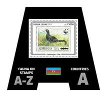 SIERRA LEONE 2019 - Fauna, Azerbaijan: Grouse. Official Issue. - Postzegels Op Postzegels