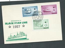 Ghana 1957 Black Star Ship Line Set Of 3 On Very Clean FDC Illustrated Unaddressed - Ghana (1957-...)