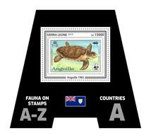 SIERRA LEONE 2019 - Fauna, Anguilla: Turtle. Official Issue. - Postzegels Op Postzegels