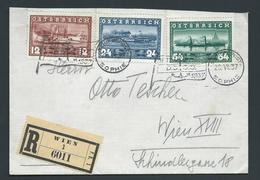 Austria 1937 Anna Maria Steamship Set Of 3 On Registered Wien Cover , Sophie Schiffpost Cancel - 1918-1945 1st Republic