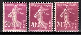 FRANCE 1924/1926 - Y.T. N° 190 X 3 DIFFERENTS - NEUFS** - - France