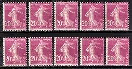 FRANCE 1924/1926 - LOT / Y.T. N° 190 X 10 - NEUFS** - - France